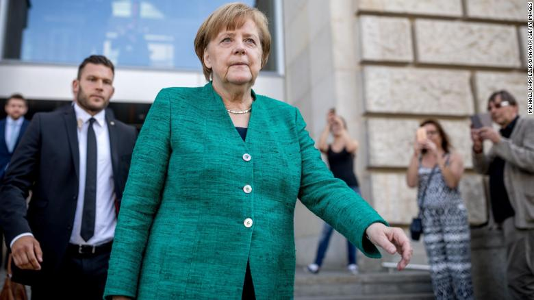 German Chancellor Angela Merkel leaves the Reichstag housing the Bundestag (lower house of parliament) after a meeting with the leadership of her conservative Christian Democratic Union (CDU) party on June 14, 2018 in Berlin. - German Chancellor Angela Merkel is facing an escalating row within her conservative camp over the flashpoint issue of immigration that could threaten her political future. (Photo by Michael Kappeler / dpa / AFP) / Germany OUT        (Photo credit should read MICHAEL KAPPELER/AFP/Getty Images)
