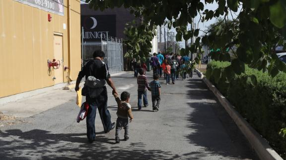 MCALLEN, TX - JUNE 11:  Central American immigrant families depart ICE custody, pending future immigration court hearings on June 11, 2018 in McAllen, Texas. Thousands of undocumented immigrants continue to cross into the U.S., despite the Trump administration
