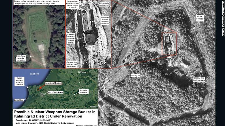 A satellite image from the Federation of American Scientists that apparently shows a buried nuclear weapons storage bunker in the Kaliningrad region, which the group says has been under major renovation since mid-2016.