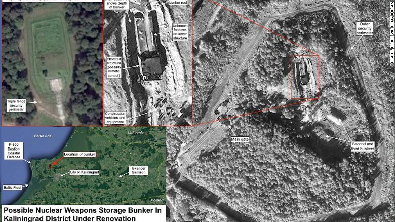 An image from the Federation of American Scientists that apparently shows a buried nuclear weapons storage bunker in the Kaliningrad district, which the group says has been under major renovation since mid-2016.
