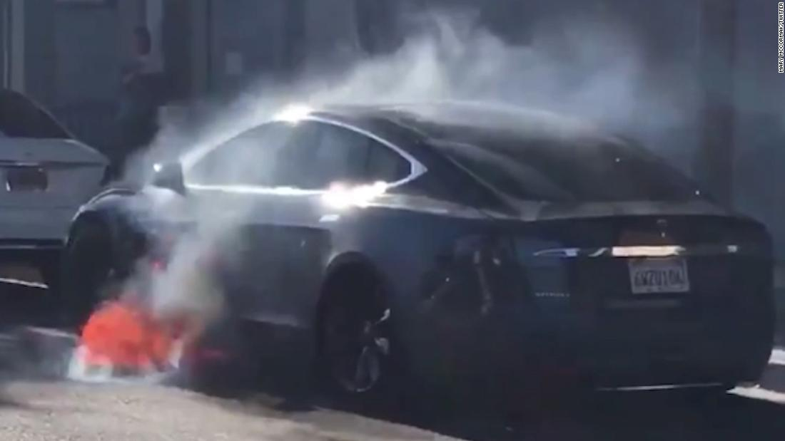 Tesla suddenly goes up in flames