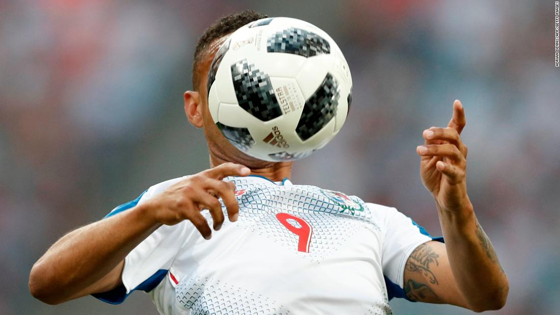 Panamanian forward Gabriel Torres controls the ball during the match against Belgium.