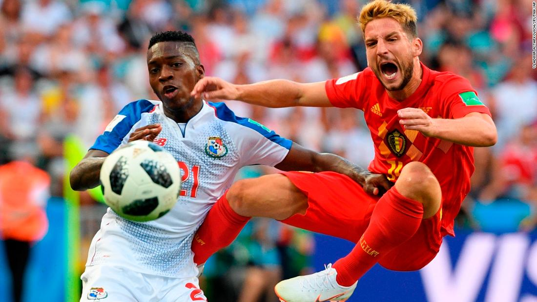 Belgium's Dries Mertens, right, competes for the ball with Panama's Jose Luis Rodriguez during their World Cup opener Monday. Mertens scored a goal in Belgium's 3-0 victory.