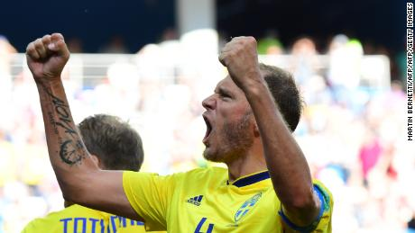 Sweden's defender Andreas Granqvist celebrates after scoring a penalty during the Russia 2018 World Cup Group F football match between Sweden and South Korea at the Nizhny Novgorod Stadium in Nizhny Novgorod on June 18, 2018. (Photo by Martin BERNETTI / AFP) / RESTRICTED TO EDITORIAL USE - NO MOBILE PUSH ALERTS/DOWNLOADS        (Photo credit should read MARTIN BERNETTI/AFP/Getty Images)