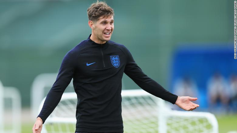 SAINT PETERSBURG, RUSSIA - JUNE 13:  John Stones of England reacts during a training session as part of the England media access at Spartak Zelenogorsk Stadium ahead of the FIFA World Cup 2018 on June 13, 2018 in Saint Petersburg, Russia.  (Photo by Alex Morton/Getty Images)