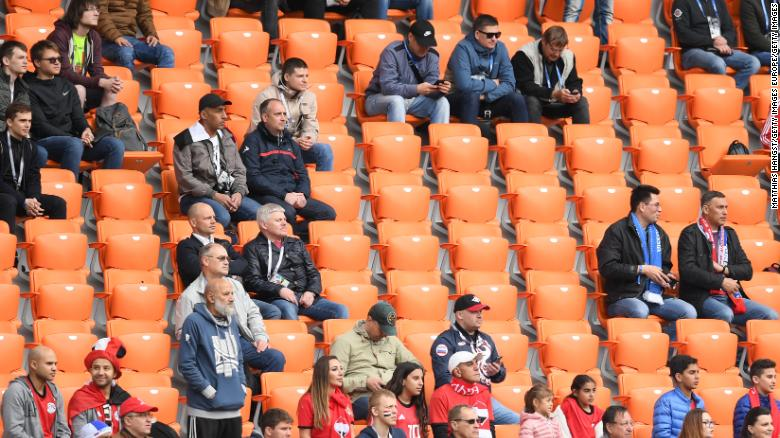 Empty seats are seen in the stands during the 2018 FIFA World Cup Russia group A match between Egypt and Uruguay at Ekaterinburg Arena.