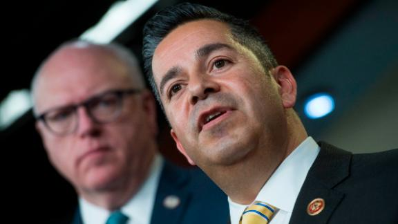 Rep. Ben Ray Lujan, a New Mexico Democrat at right, and House Democratic Caucus Chairman Joe Crowley, a New York Democrat, conduct a news conference before House democrats attend a speech by former VP Joe Biden in the Capitol Visitor Center on February 7. (Photo By Tom Williams/CQ Roll Call)