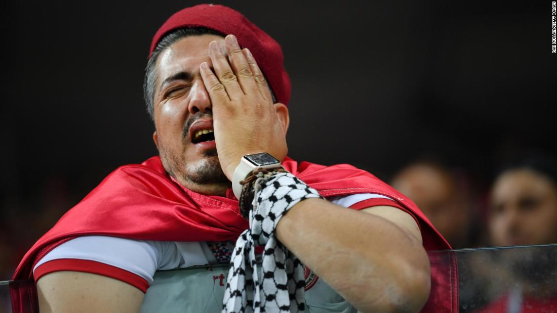 A Tunisia fan shows his dejection after the final whistle.