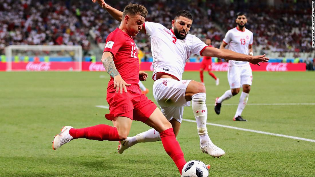 Trippier is challenged by Syam Ben Youssef.