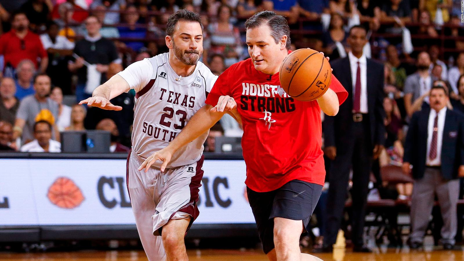 ted cruz bests jimmy kimmel in sloppy one on one basketball game
