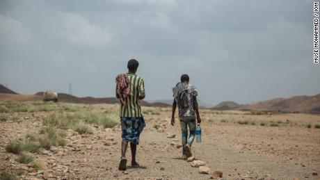Jamal and Ahmed are two Ethiopian migrants traveling across the border into Djibouti, bound for Yemen.