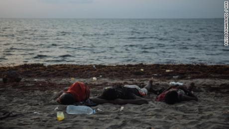 Ethiopian migrants sleep on the beach at Djibouti City.