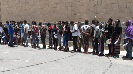 Migrants at a holding facility in Sana'a, Yemen.