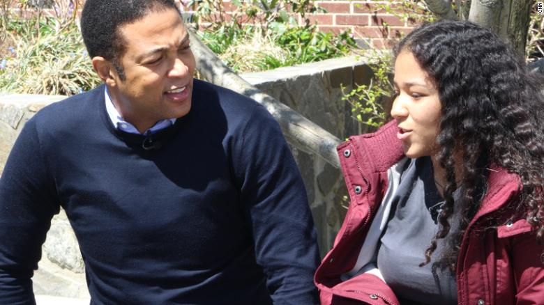 CNN's Don Lemon talks with Oliver Scholars student Sugeidy Ferriera.