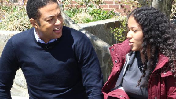 CNN's Don Lemon talks with Oliver Scholars student Sugeidy Ferriera.