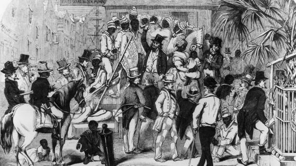 An illustration of slaves being sold in Charleston, South Carolina, about 1860.