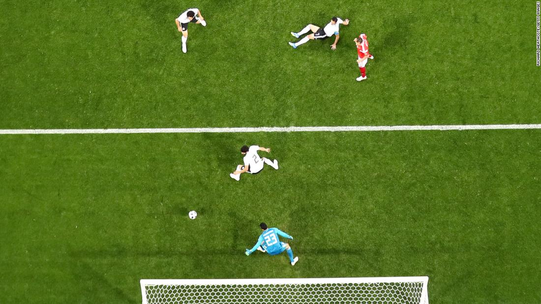 Russia's first goal came when the ball deflected off Egypt's Ahmed Fathi.
