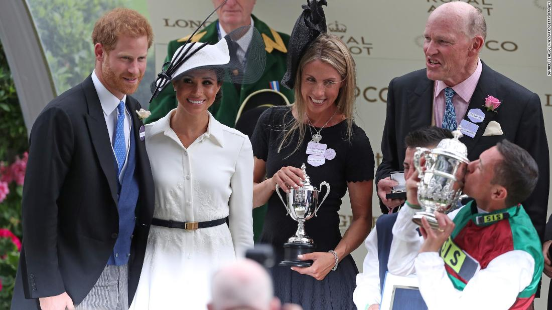 Prince Harry and Meghan presented the trophy to jockey Frankie Dettori following his win on Without Parole in the St James's Palace Stakes, one of the feature races on day one at Royal Ascot.