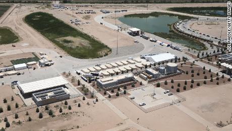 An aerial photo of the temporary shelter in Tornillo.
