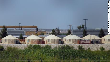"View of a temporary detention centre for illegal immigrant children and teenagers at Tornillo, Texas, US near the Mexico-US border, as seen from Valle de Juarez, in Chihuahua state, Mexico on June 18, 2018. - Mexico strongly condemned US President Donald Trump's administration Tuesday for its policy of separating immigrant children and parents detained after crossing the US-Mexican border, calling it ""inhuman."" (Photo by HERIKA MARTINEZ / AFP)        (Photo credit should read HERIKA MARTINEZ/AFP/Getty Images)"