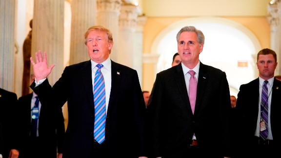 US President Donald Trump (L) walks next to US House Majority Leader Kevin McCarthy (R-CA) after a meeting at the US Capitol with the House Republican Conference in Washington, DC on June 19, 2018. (Photo by Mandel Ngan / AFP)        (Photo credit should read MANDEL NGAN/AFP/Getty Images)