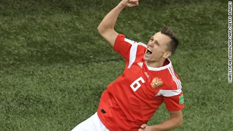 Russia's midfielder Denis Cheryshev celebrates scoring his team's second goal during the Russia 2018 World Cup Group A football match between Russia and Egypt at the Saint Petersburg Stadium in Saint Petersburg on June 19, 2018. (Photo by CHRISTOPHE SIMON / AFP) / RESTRICTED TO EDITORIAL USE - NO MOBILE PUSH ALERTS/DOWNLOADS        (Photo credit should read CHRISTOPHE SIMON/AFP/Getty Images)