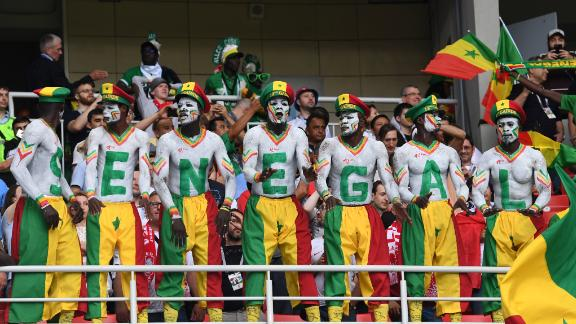 Senegal's supporters cheer their team during the Russia 2018 World Cup Group H football match between Poland and Senegal at the Spartak Stadium in Moscow on June 19, 2018.