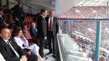 MOSCOW, RUSSIA - JUNE 14:  President Vladimir Putin and Prime Minister Dmitry Medvedev attend the opening ceremony prior to the 2018 FIFA World Cup Russia Group A match between Russia and Saudi Arabia at Luzhniki Stadium on June 14, 2018 in Moscow, Russia.  (Photo by Pool/Getty Images)