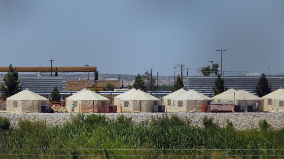View of a temporary detention centre for illegal underage immigrants in Tornillo, Texas, US near the Mexico-US border, as seen from Valle de Juarez, in Chihuahua state, Mexico on June 18, 2018. - Mexico strongly condemned US President Donald Trump