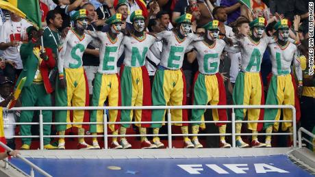 fans of Senegal with painted body during the 2018 FIFA World Cup Russia group H match between Poland and Senegal at the Otkrytiye Arena on June 19, 2018 in Moscow, Russia(Photo by VI Images via Getty Images)