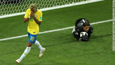 Neymar Jr. of Brazil reacts follwing a save by Sommer.