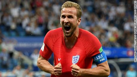 Harry Kane of England celebrates after scoring his team's winning goal against Tunisia.