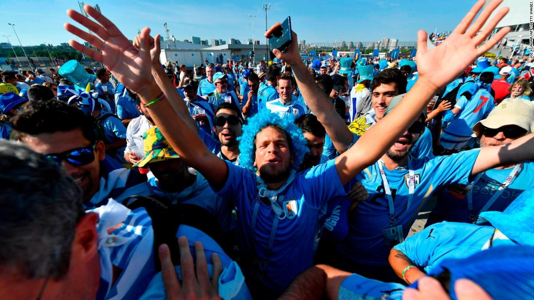 Uruguay fans cheer outside the stadium before the match with Saudi Arabia on Wednesday.