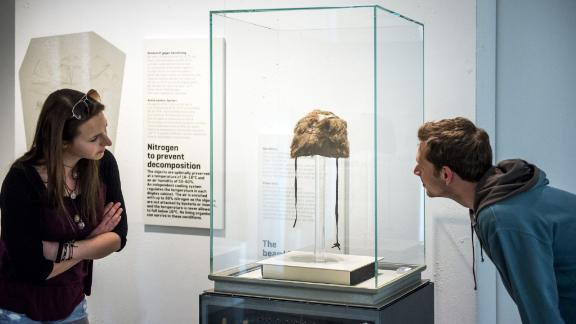 Otzi had a bearskin cap that helped keep him warm in the cold, wet climate of the Italian Alps.