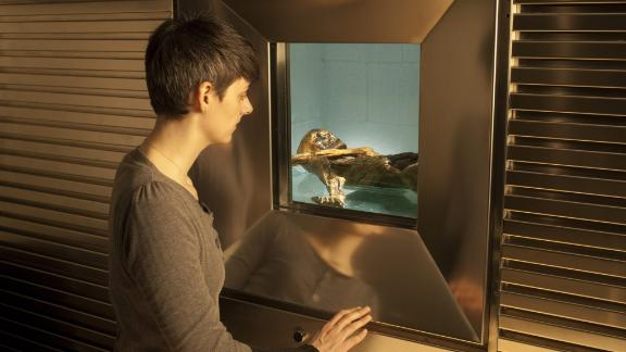 Otzi is kept at the museum in a special refrigerated cell. The mummy is regularly sprayed with water so it doesn't dehydrate and break down.