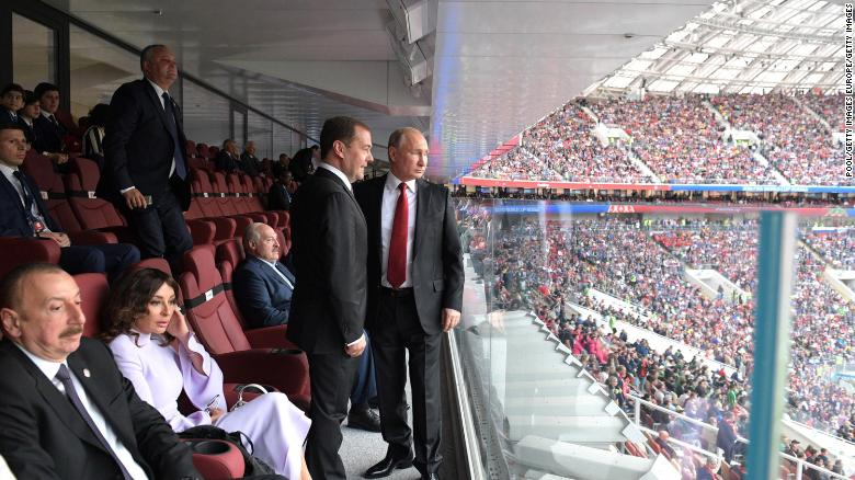 Putin and Prime Minister Dmitry Medvedev attend the opening ceremony of the World Cup.