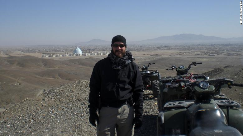 Justin Blazejewski working as a US military contractor in the Middle East.