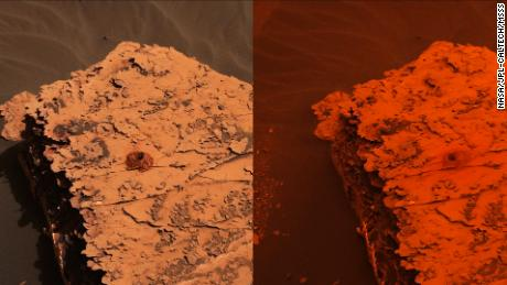 Two images from the Mast Camera on NASA's Curiosity rover show atmospheric changes since a dust storm descended on Gale Crater. On the left is what it looked like on May 21, before the storm. On the right is what it looked like on June 17.