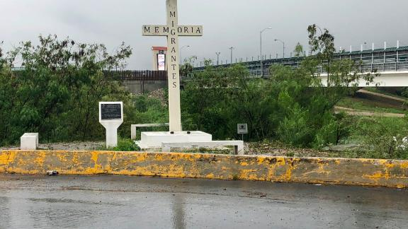 A cross at the Rio Grande in Reynosa, Mexico, is a memorial to migrants who died crossing the border.