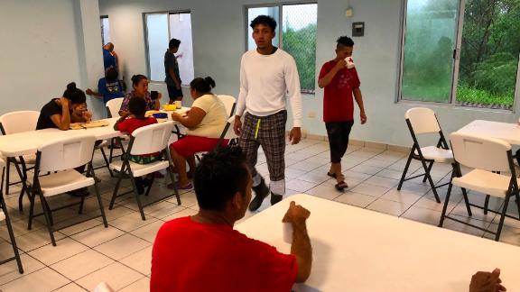 Migrants await their next move at Senda de Vida shelter.