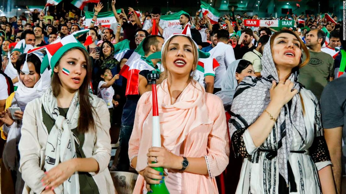 azadi stadium iran women celebrate despite world cup loss to spain