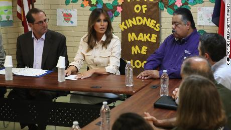 U.S. first lady Melania Trump participates in a round table discussion with doctors and social workers at the Upbring New Hope Childrens Center operated by Lutheran Social Services of the South and contracted with the Department of Health and Human Services June 21, 2018 in McAllen, Texas. (Photo by Chip Somodevilla/Getty Images)