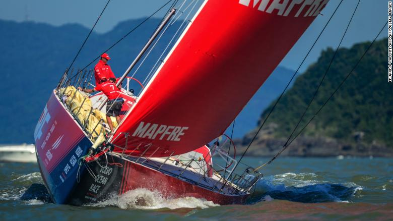 TOPSHOT - Spain's Mapfre team sails during the in-port race of the Volvo Ocean Race in Itajai, in Brazil on April 20, 2018. - The teams will next embark on leg 8 to Newport, US with MAPFRE team in the lead, AkzoNobel in second place followed by Chinese Dongfeng. (Photo by EDUARDO VALENTE / AFP)        (Photo credit should read EDUARDO VALENTE/AFP/Getty Images)