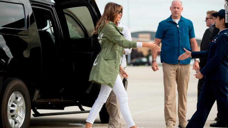 eb5f6b78c First lady Melania Trump arrives to board a plane at Andrews Air Force  Base, Md