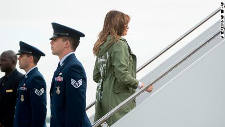 First lady Melania Trump boards a plane at Andrews Air Force Base, Md., Thursday, June 21, 2018, to travel to Texas to visit the U.S.-Mexico border. (AP Photo/Andrew Harnik)