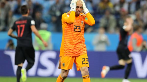 Willy Caballero is dejected after his flubbed clearance gifted Croatia its first goal.