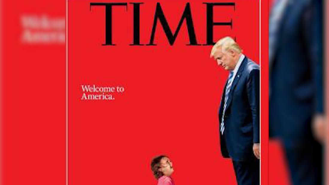 image of Time cover shows Trump towering over toddler