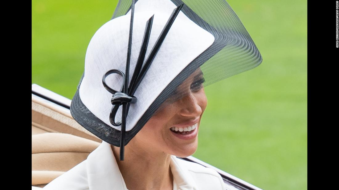 Meghan, the Duchess of Sussex, attends the Royal Ascot horse-racing event on Tuesday, June 19. It was her first appearance at what is the most prestigious event on the British horse-racing calendar.