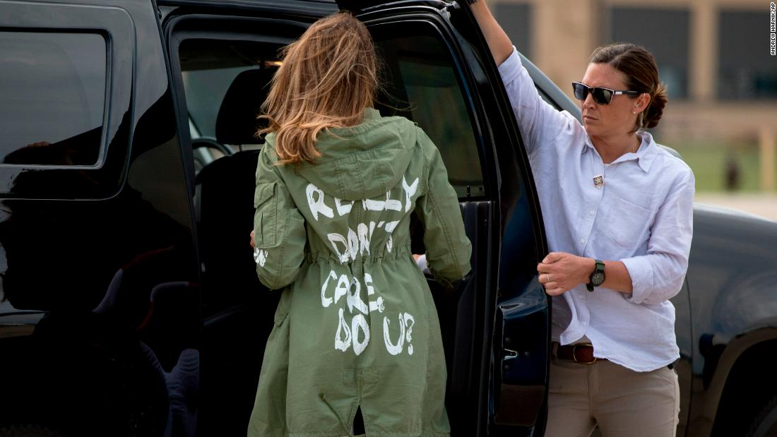 "After arriving at Andrews Air Force Base in Maryland on Thursday, June 21, first lady Melania Trump <a href=""https://www.cnn.com/2018/06/21/politics/melania-trump-jacket/index.html"" target=""_blank"">wears a jacket</a> that says ""I really don't care. Do u?"" She had just returned from McAllen, Texas, where she toured a shelter for immigrant children. She didn't wear the jacket in Texas, but she wore it as she got on and got off the plane in Maryland. The first lady's team insisted that there was no hidden meaning behind the sartorial choice. Later, her husband tweeted that the jacket's message was a shot at the media. ""Melania has learned how dishonest they are, and she truly no longer cares!"" he tweeted."