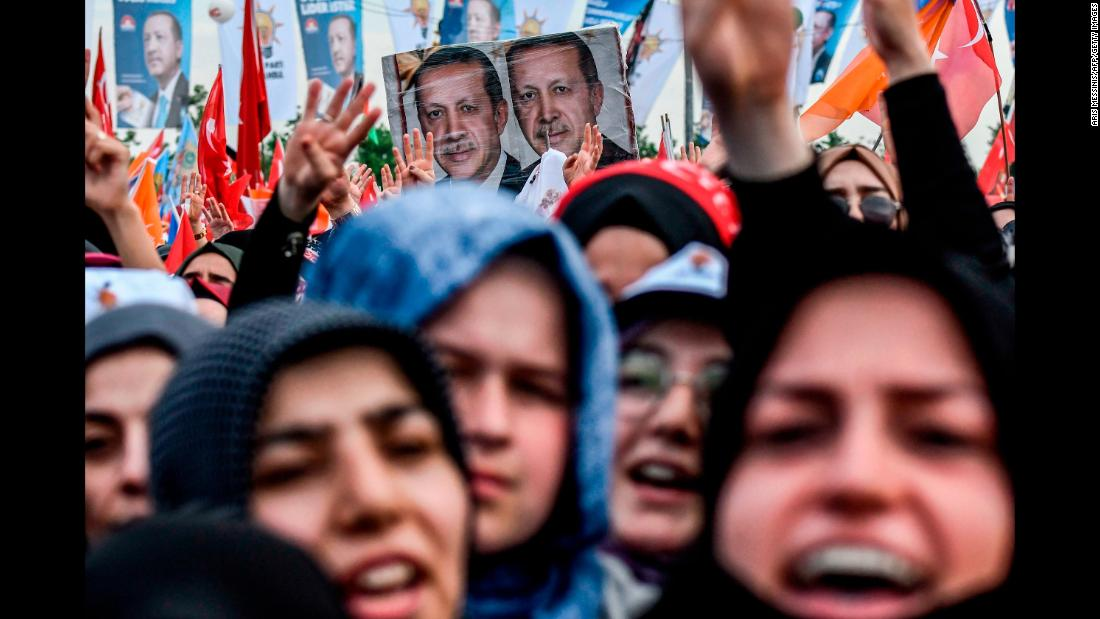 "People cheer in Istanbul as Turkish President Recep Tayyip Erdogan gives a speech on Sunday, June 17. Erdogan is up for re-election on June 24. <a href=""https://www.cnn.com/2018/06/20/europe/turkish-elections-erdogan-explainer-intl/index.html"" target=""_blank"">What to know about Turkey's elections</a>"